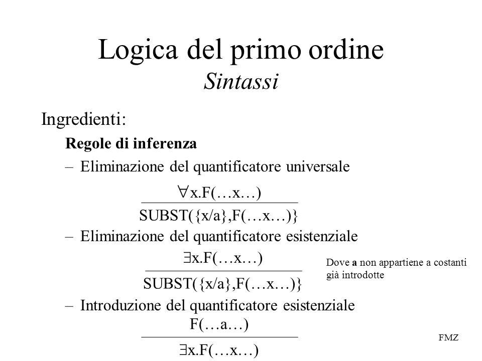 FMZ Logica del primo ordine Sintassi Ingredienti: Regole di inferenza –Eliminazione del quantificatore universale –Eliminazione del quantificatore esistenziale –Introduzione del quantificatore esistenziale  x.F(…x…) SUBST({x/a},F(…x…)}  x.F(…x…) SUBST({x/a},F(…x…)} F(…a…)  x.F(…x…) Dove a non appartiene a costanti già introdotte