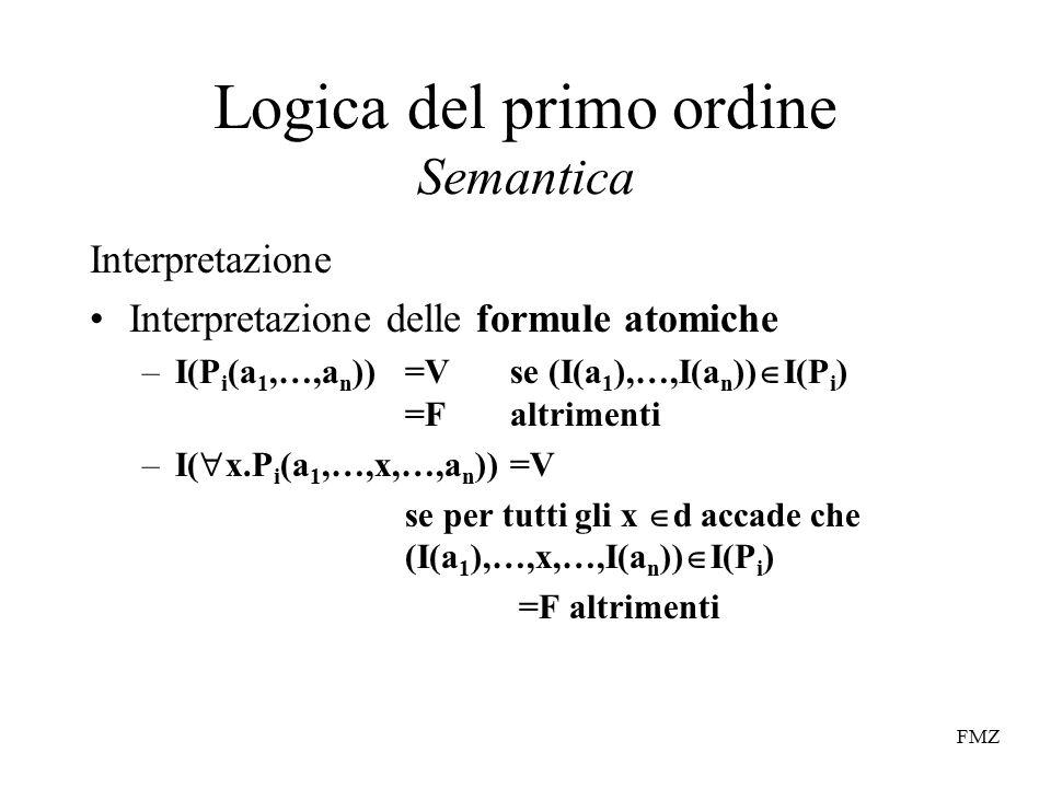FMZ Logica del primo ordine Semantica Interpretazione Interpretazione delle formule atomiche –I(P i (a 1,…,a n ))=V se (I(a 1 ),…,I(a n ))  I(P i ) =Faltrimenti –I(  x.P i (a 1,…,x,…,a n ))=V se per tutti gli x  d accade che (I(a 1 ),…,x,…,I(a n ))  I(P i ) =F altrimenti