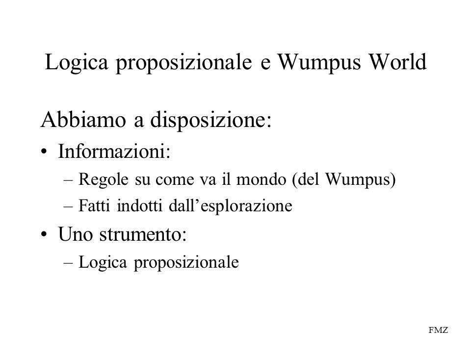 FMZ Logica proposizionale e Wumpus World Abbiamo a disposizione: Informazioni: –Regole su come va il mondo (del Wumpus) –Fatti indotti dall'esplorazione Uno strumento: –Logica proposizionale
