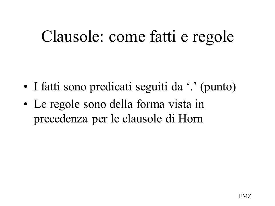 FMZ Clausole: come fatti e regole I fatti sono predicati seguiti da '.' (punto) Le regole sono della forma vista in precedenza per le clausole di Horn