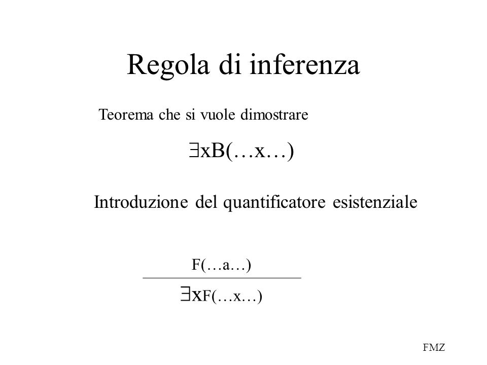 FMZ Regola di inferenza Introduzione del quantificatore esistenziale F(…a…)  x F(…x…)  xB(…x…) Teorema che si vuole dimostrare