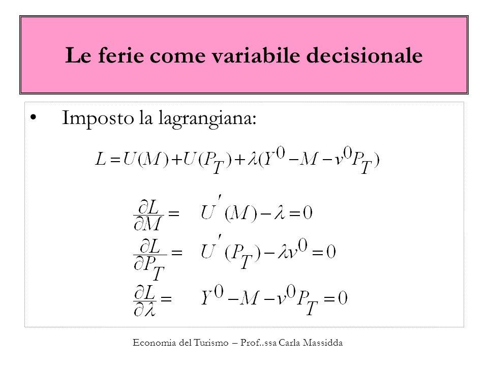 Economia del Turismo – Prof..ssa Carla Massidda Le ferie come variabile decisionale Imposto la lagrangiana: