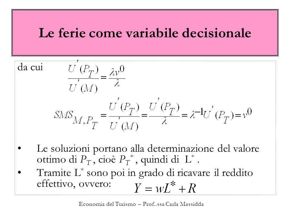 Economia del Turismo – Prof..ssa Carla Massidda Le ferie come variabile decisionale da cui Le soluzioni portano alla determinazione del valore ottimo