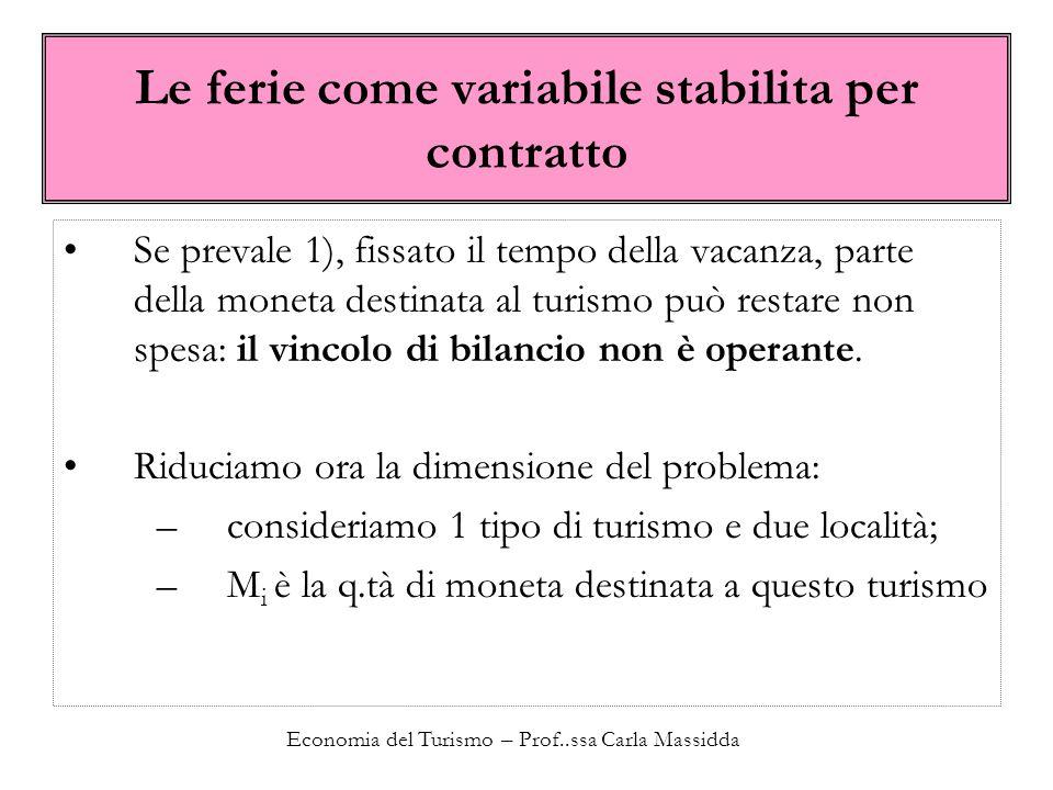 Economia del Turismo – Prof..ssa Carla Massidda Le ferie come variabile stabilita per contratto Se prevale 1), fissato il tempo della vacanza, parte d