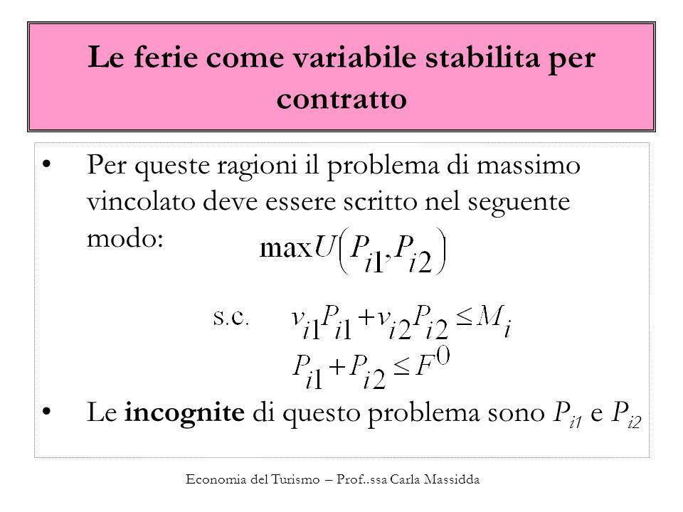 Economia del Turismo – Prof..ssa Carla Massidda Le ferie come variabile stabilita per contratto Per queste ragioni il problema di massimo vincolato de