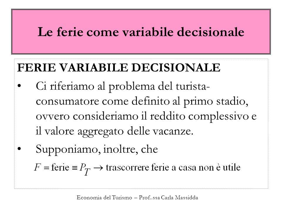 Economia del Turismo – Prof..ssa Carla Massidda Le ferie come variabile decisionale FERIE VARIABILE DECISIONALE Ci riferiamo al problema del turista-