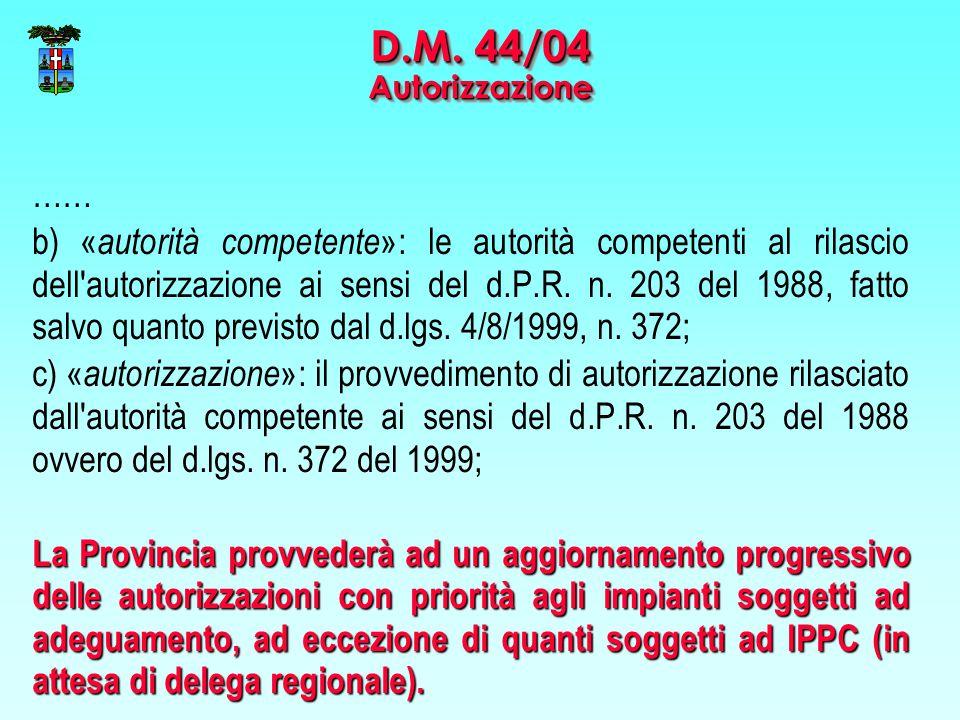 …… b) « autorità competente »: le autorità competenti al rilascio dell autorizzazione ai sensi del d.P.R.