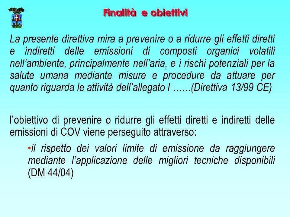 Finalità e obiettivi La presente direttiva mira a prevenire o a ridurre gli effetti diretti e indiretti delle emissioni di composti organici volatili nell'ambiente, principalmente nell'aria, e i rischi potenziali per la salute umana mediante misure e procedure da attuare per quanto riguarda le attività dell'allegato I ……(Direttiva 13/99 CE) l'obiettivo di prevenire o ridurre gli effetti diretti e indiretti delle emissioni di COV viene perseguito attraverso: il rispetto dei valori limite di emissione da raggiungere mediante l'applicazione delle migliori tecniche disponibili (DM 44/04)
