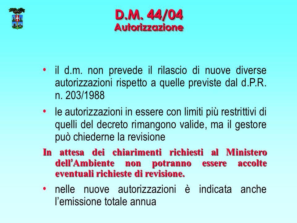 il d.m. non prevede il rilascio di nuove diverse autorizzazioni rispetto a quelle previste dal d.P.R. n. 203/1988 le autorizzazioni in essere con limi