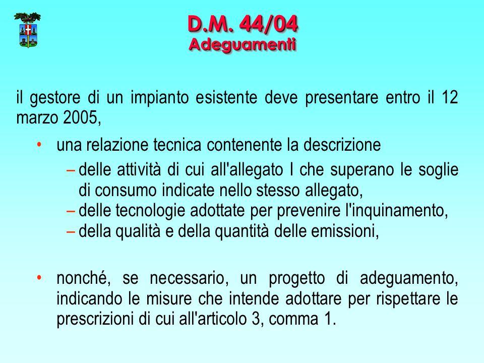 il gestore di un impianto esistente deve presentare entro il 12 marzo 2005, una relazione tecnica contenente la descrizione –delle attività di cui all