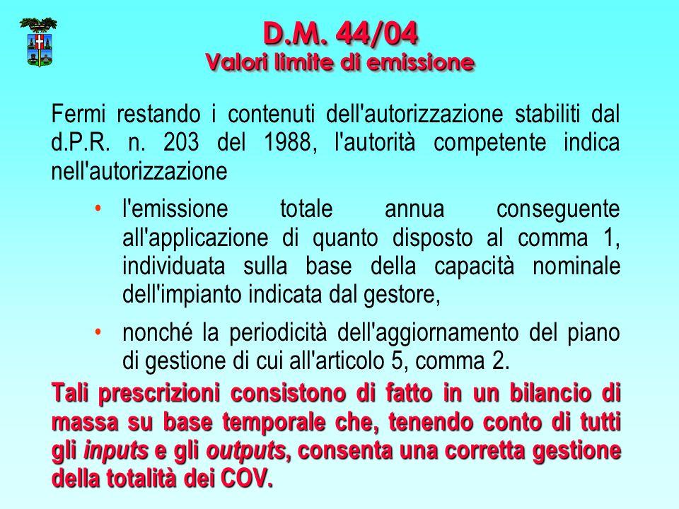 Fermi restando i contenuti dell'autorizzazione stabiliti dal d.P.R. n. 203 del 1988, l'autorità competente indica nell'autorizzazione l'emissione tota