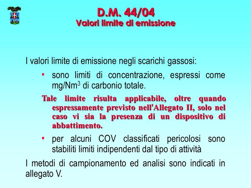 I valori limite di emissione negli scarichi gassosi: sono limiti di concentrazione, espressi come mg/Nm 3 di carbonio totale. Tale limite risulta appl
