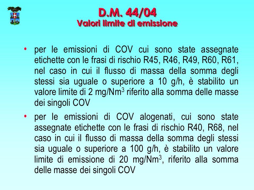 per le emissioni di COV cui sono state assegnate etichette con le frasi di rischio R45, R46, R49, R60, R61, nel caso in cui il flusso di massa della somma degli stessi sia uguale o superiore a 10 g/h, è stabilito un valore limite di 2 mg/Nm 3 riferito alla somma delle masse dei singoli COV per le emissioni di COV alogenati, cui sono state assegnate etichette con le frasi di rischio R40, R68, nel caso in cui il flusso di massa della somma degli stessi sia uguale o superiore a 100 g/h, è stabilito un valore limite di emissione di 20 mg/Nm 3, riferito alla somma delle masse dei singoli COV D.M.