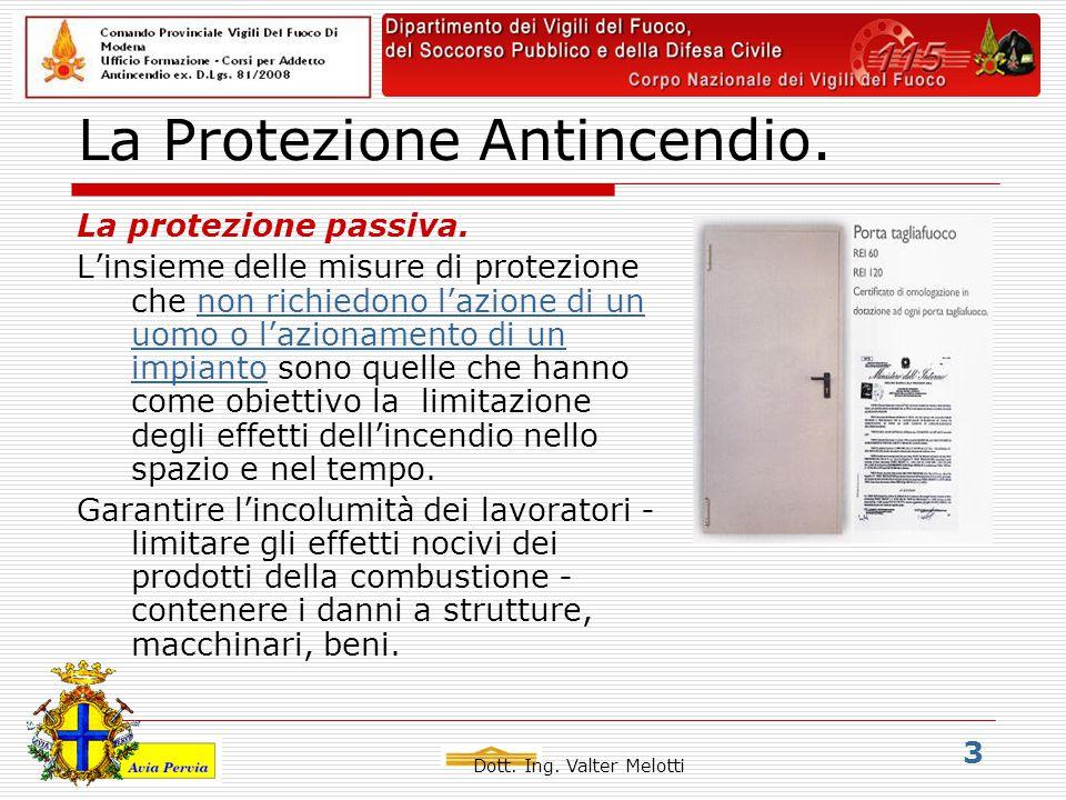 Dott. Ing. Valter Melotti 3 La Protezione Antincendio.