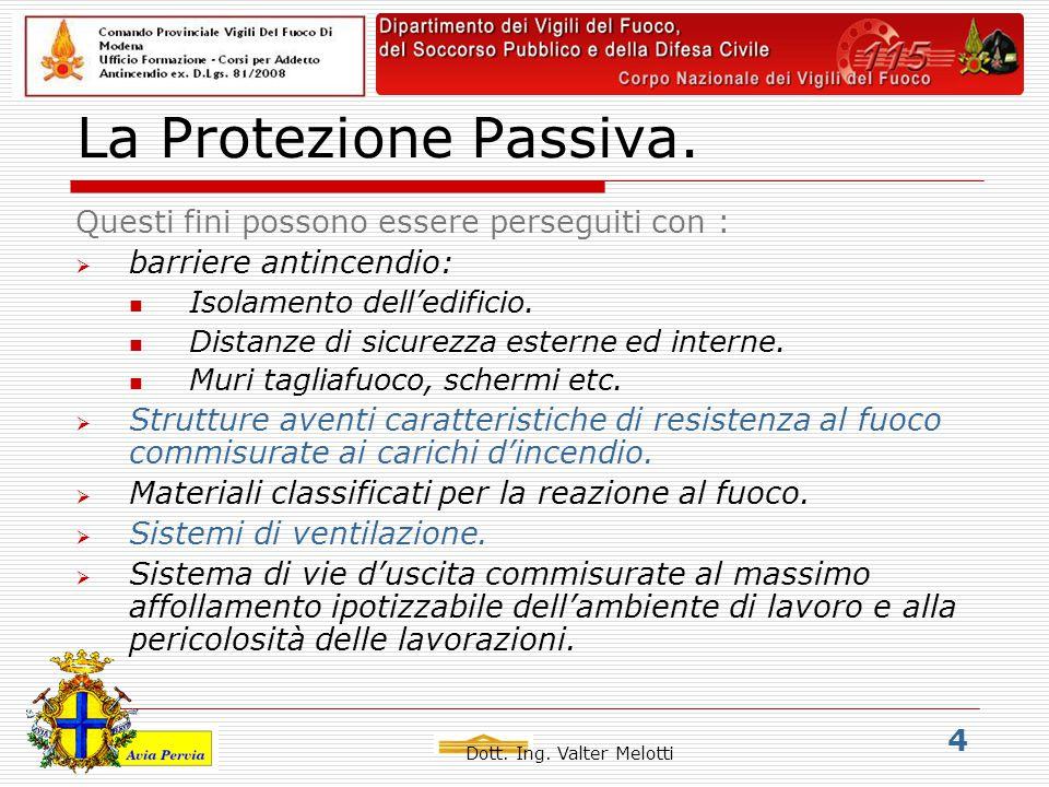 Dott.Ing. Valter Melotti 5 La Protezione Antincendio.