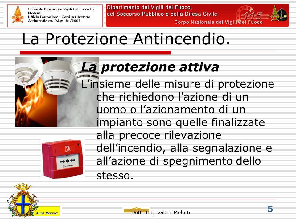 Dott. Ing. Valter Melotti 5 La Protezione Antincendio.