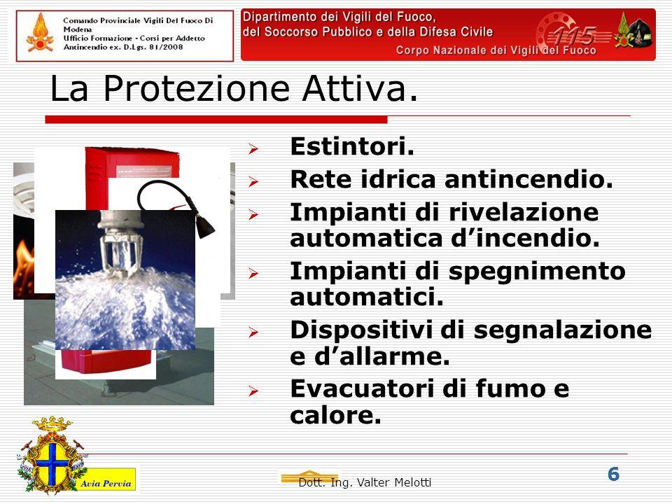 Dott. Ing. Valter Melotti 6 La Protezione Attiva.