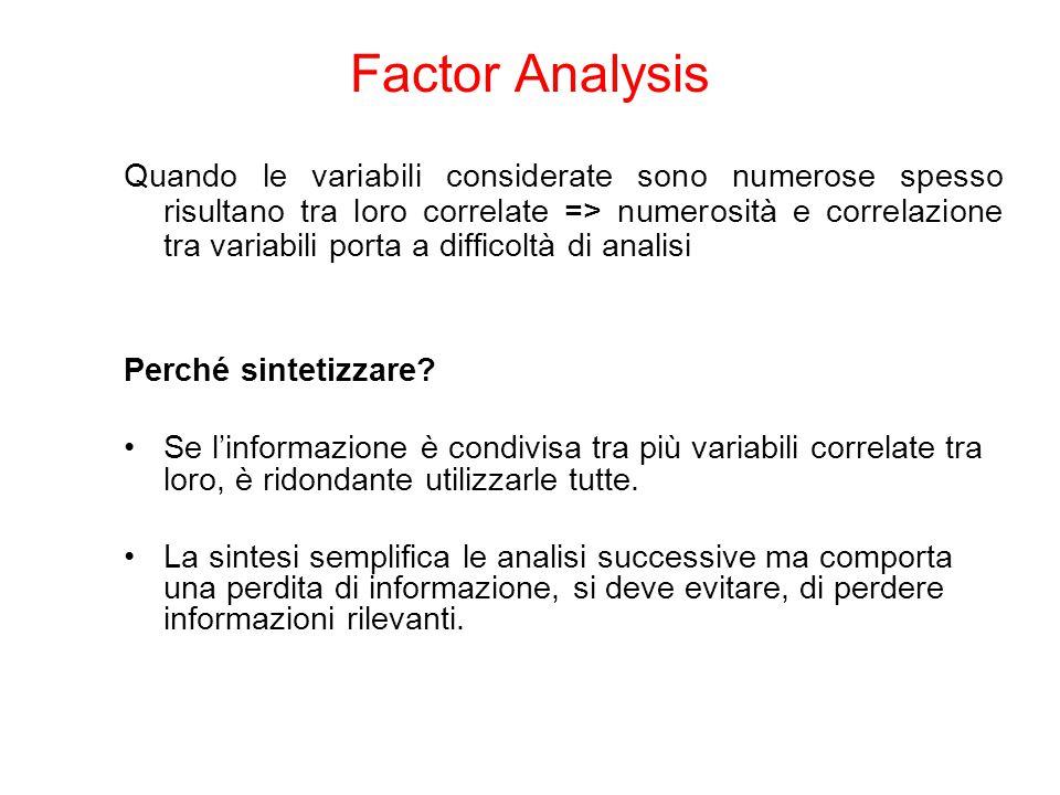 Quando le variabili considerate sono numerose spesso risultano tra loro correlate => numerosità e correlazione tra variabili porta a difficoltà di analisi Perché sintetizzare.