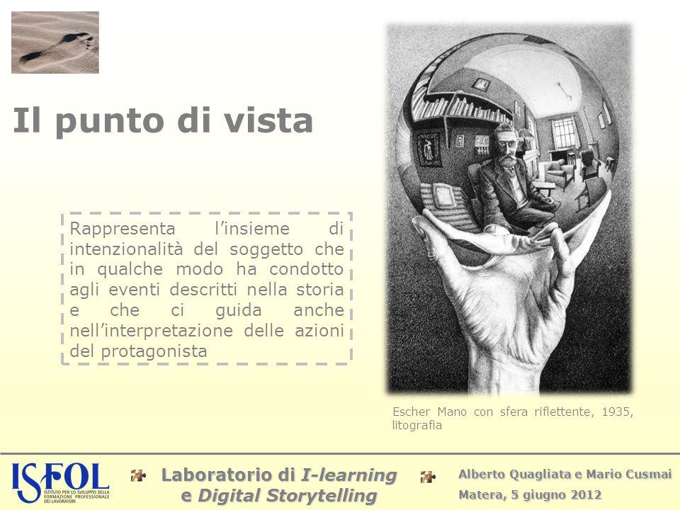 Laboratorio di I-learning e Digital Storytelling Alberto Quagliata e Mario Cusmai Matera, 5 giugno 2012 Il punto di vista Rappresenta l'insieme di int