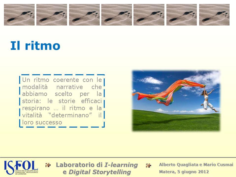 Laboratorio di I-learning e Digital Storytelling Alberto Quagliata e Mario Cusmai Matera, 5 giugno 2012 Il ritmo Un ritmo coerente con le modalità nar
