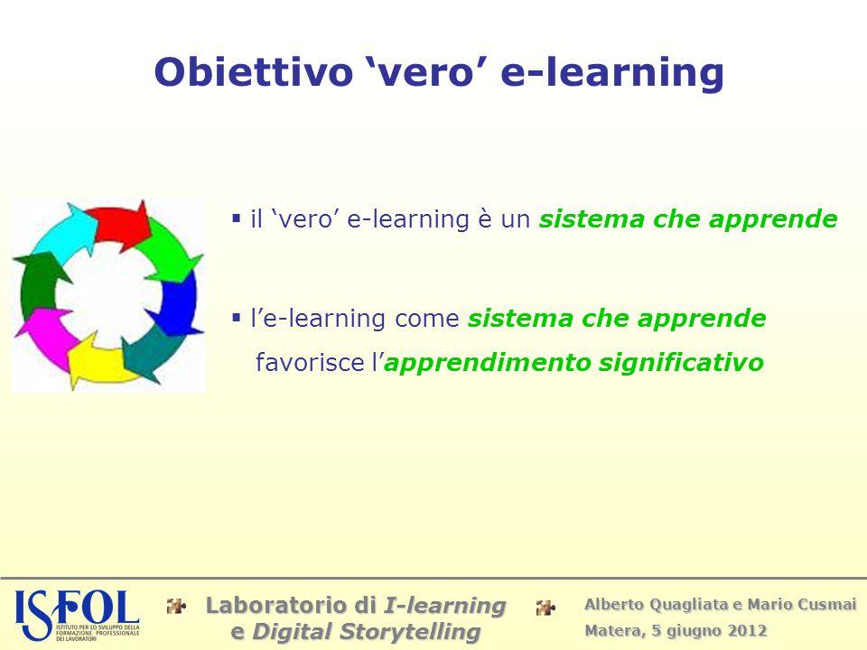Laboratorio di I-learning e Digital Storytelling Alberto Quagliata e Mario Cusmai Matera, 5 giugno 2012 Obiettivo 'vero' e-learning  il 'vero' e-lear