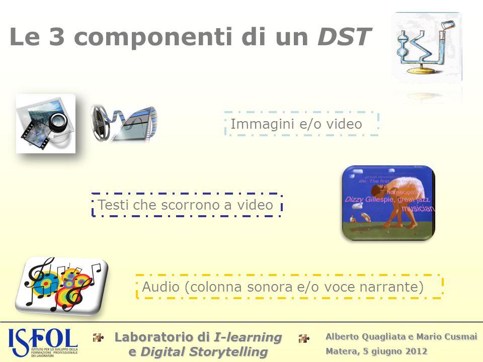Laboratorio di I-learning e Digital Storytelling Alberto Quagliata e Mario Cusmai Matera, 5 giugno 2012 Le 3 componenti di un DST Immagini e/o video T
