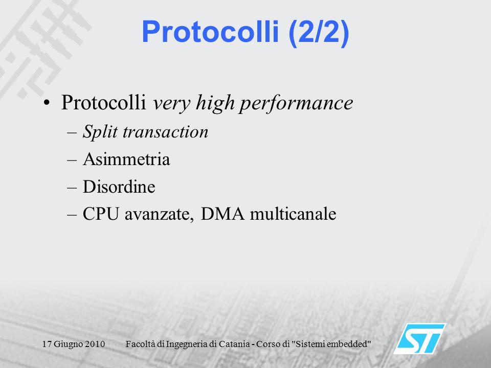17 Giugno 2010Facoltà di Ingegneria di Catania - Corso di Sistemi embedded Protocolli (2/2) Protocolli very high performance –Split transaction –Asimmetria –Disordine –CPU avanzate, DMA multicanale