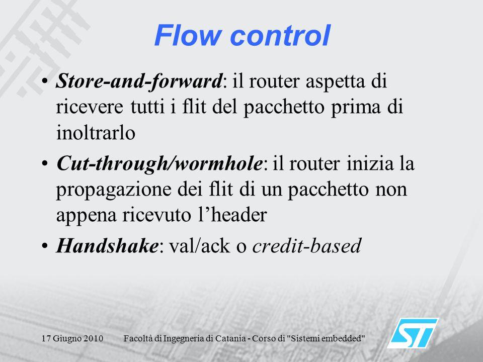 17 Giugno 2010Facoltà di Ingegneria di Catania - Corso di Sistemi embedded Flow control Store-and-forward: il router aspetta di ricevere tutti i flit del pacchetto prima di inoltrarlo Cut-through/wormhole: il router inizia la propagazione dei flit di un pacchetto non appena ricevuto l'header Handshake: val/ack o credit-based