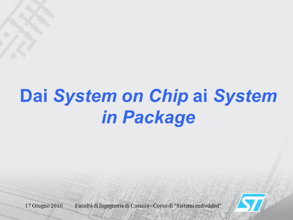 17 Giugno 2010Facoltà di Ingegneria di Catania - Corso di Sistemi embedded Dai System on Chip ai System in Package