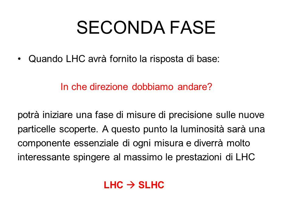 SECONDA FASE Quando LHC avrà fornito la risposta di base: In che direzione dobbiamo andare.