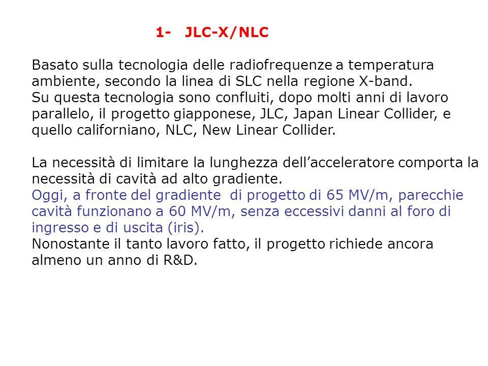 1- JLC-X/NLC Basato sulla tecnologia delle radiofrequenze a temperatura ambiente, secondo la linea di SLC nella regione X-band.