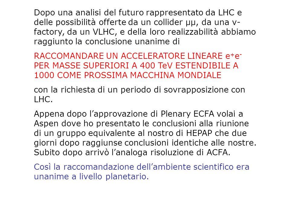 Dopo una analisi del futuro rappresentato da LHC e delle possibilità offerte da un collider μμ, da una ν- factory, da un VLHC, e della loro realizzabilità abbiamo raggiunto la conclusione unanime di RACCOMANDARE UN ACCELERATORE LINEARE e + e - PER MASSE SUPERIORI A 400 TeV ESTENDIBILE A 1000 COME PROSSIMA MACCHINA MONDIALE con la richiesta di un periodo di sovrapposizione con LHC.