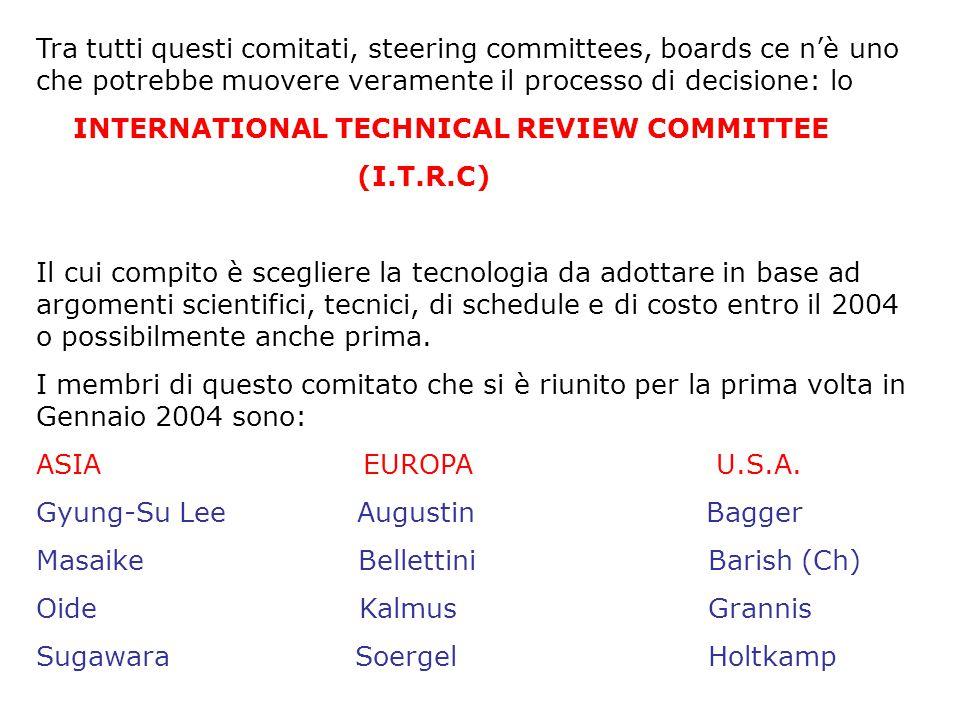 Tra tutti questi comitati, steering committees, boards ce n'è uno che potrebbe muovere veramente il processo di decisione: lo INTERNATIONAL TECHNICAL REVIEW COMMITTEE (I.T.R.C) Il cui compito è scegliere la tecnologia da adottare in base ad argomenti scientifici, tecnici, di schedule e di costo entro il 2004 o possibilmente anche prima.
