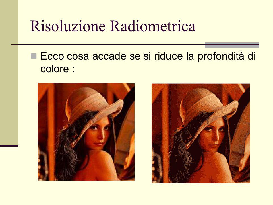 Risoluzione Radiometrica Ecco cosa accade se si riduce la profondità di colore :