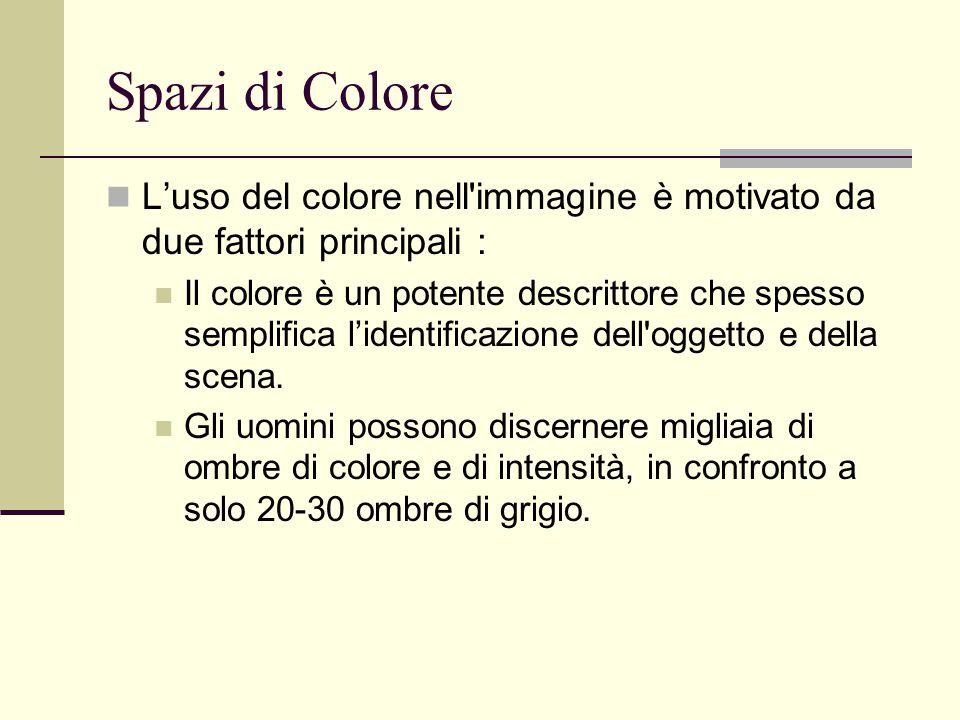 Spazi di Colore L'uso del colore nell'immagine è motivato da due fattori principali : Il colore è un potente descrittore che spesso semplifica l'ident