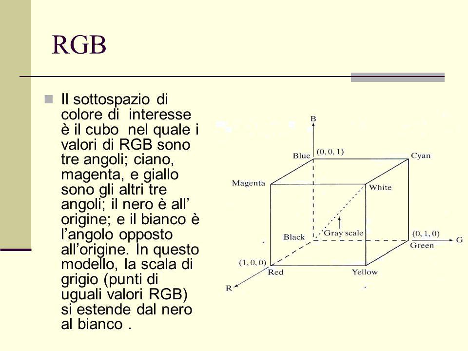 RGB Il sottospazio di colore di interesse è il cubo nel quale i valori di RGB sono tre angoli; ciano, magenta, e giallo sono gli altri tre angoli; il