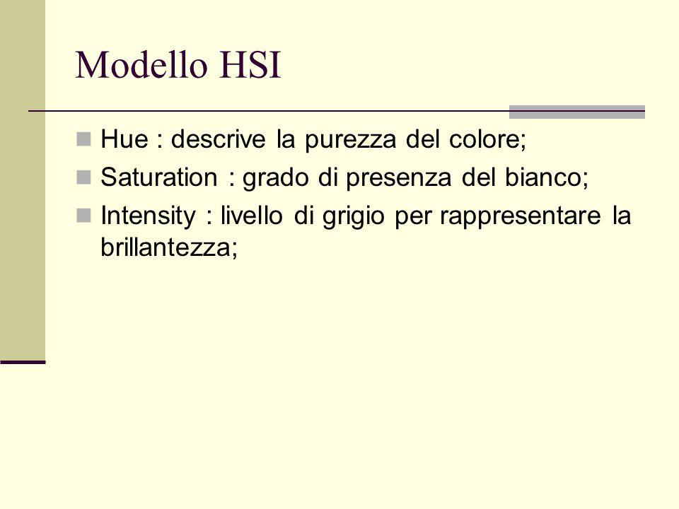Modello HSI Hue : descrive la purezza del colore; Saturation : grado di presenza del bianco; Intensity : livello di grigio per rappresentare la brilla