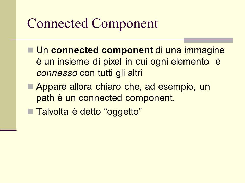 Connected Component Un connected component di una immagine è un insieme di pixel in cui ogni elemento è connesso con tutti gli altri Appare allora chi