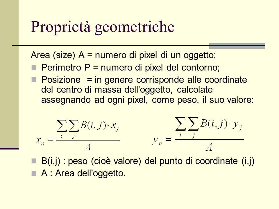 Proprietà geometriche Area (size) A = numero di pixel di un oggetto; Perimetro P = numero di pixel del contorno; Posizione = in genere corrisponde all