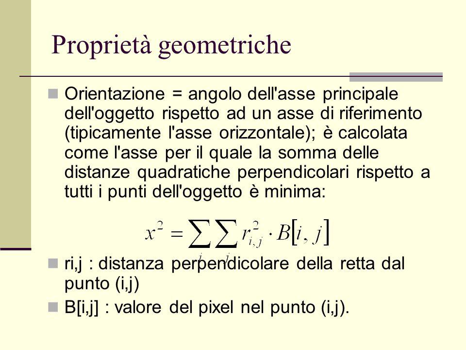 Proprietà geometriche Orientazione = angolo dell'asse principale dell'oggetto rispetto ad un asse di riferimento (tipicamente l'asse orizzontale); è c