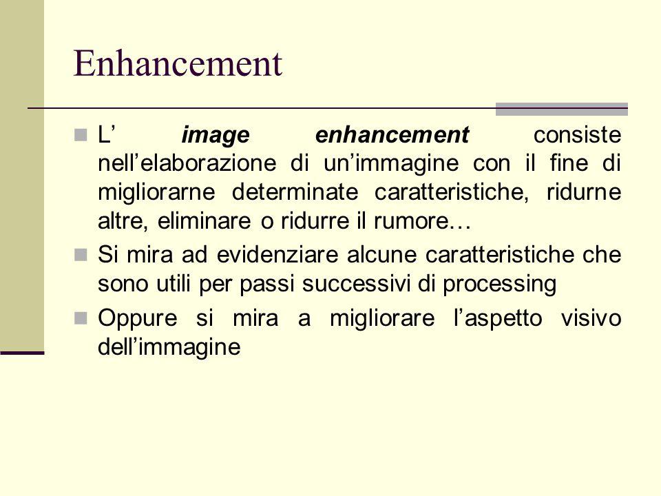 Enhancement L' image enhancement consiste nell'elaborazione di un'immagine con il fine di migliorarne determinate caratteristiche, ridurne altre, elim