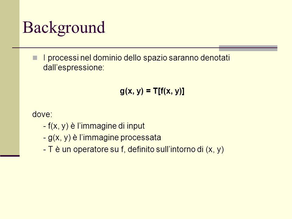 I processi nel dominio dello spazio saranno denotati dall'espressione: g(x, y) = T[f(x, y)] dove: - f(x, y) è l'immagine di input - g(x, y) è l'immagi