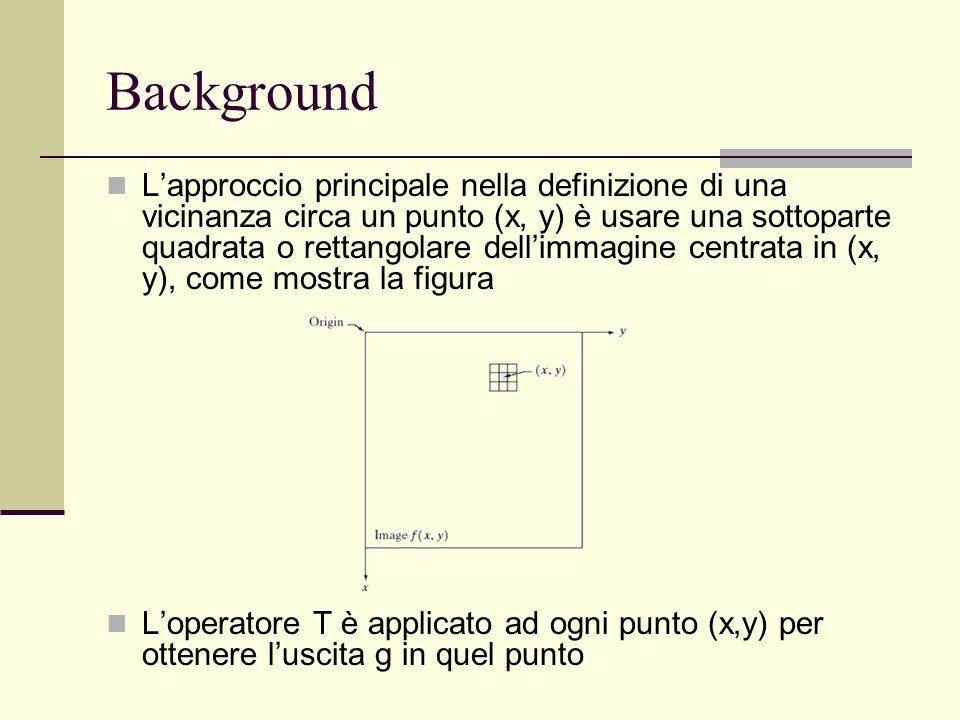 L'approccio principale nella definizione di una vicinanza circa un punto (x, y) è usare una sottoparte quadrata o rettangolare dell'immagine centrata
