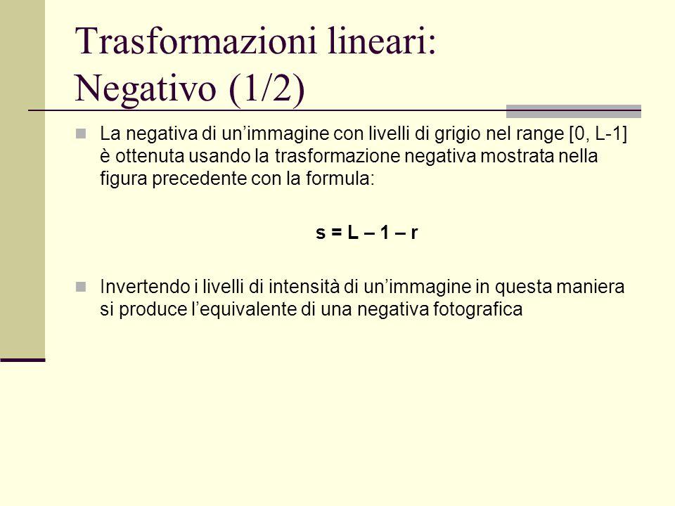 Trasformazioni lineari: Negativo (1/2) La negativa di un'immagine con livelli di grigio nel range [0, L-1] è ottenuta usando la trasformazione negativ