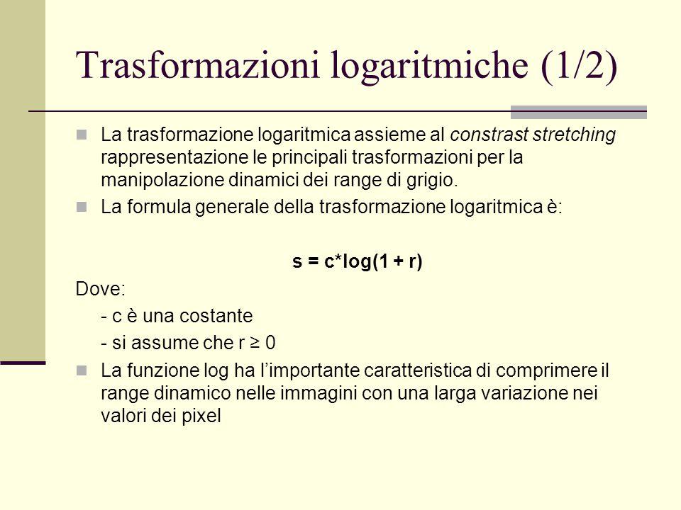 Trasformazioni logaritmiche (1/2) La trasformazione logaritmica assieme al constrast stretching rappresentazione le principali trasformazioni per la m