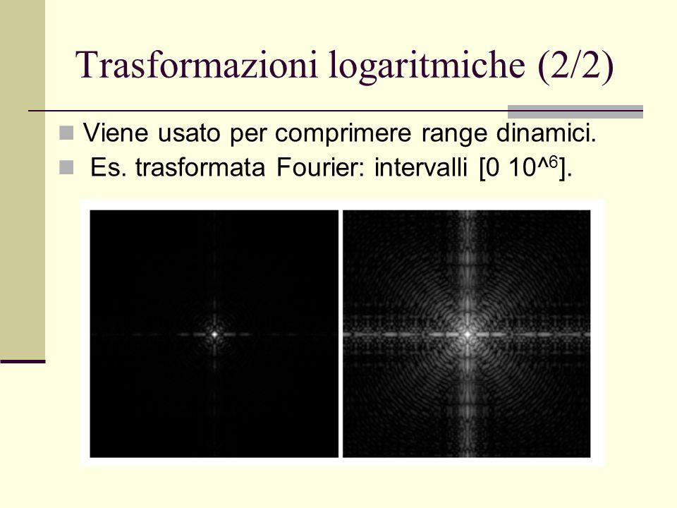 Trasformazioni logaritmiche (2/2) Viene usato per comprimere range dinamici. Es. trasformata Fourier: intervalli [0 10^ 6 ].