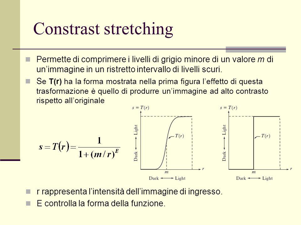 Constrast stretching Permette di comprimere i livelli di grigio minore di un valore m di un'immagine in un ristretto intervallo di livelli scuri. S e