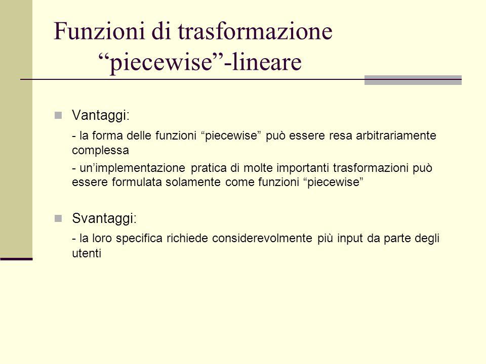 """Funzioni di trasformazione """"piecewise""""-lineare Vantaggi: - la forma delle funzioni """"piecewise"""" può essere resa arbitrariamente complessa - un'implemen"""