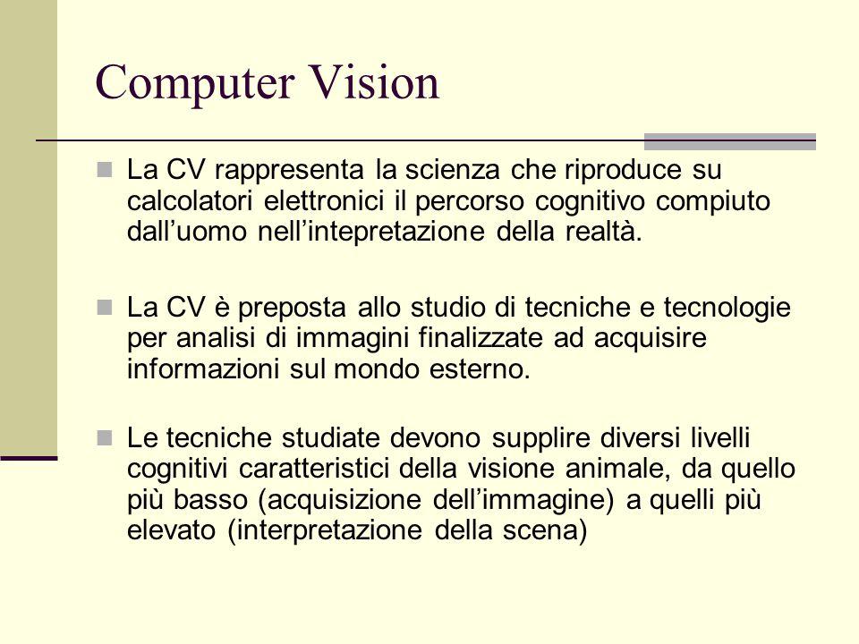 Computer Vision DIVERSI LIVELLI DI ANALISI La visione artificiale si articola su tre livelli di astrazione: LOW LEVEL: Produce una nuova immagine MIDDLE LEVEL: Estrae informazioni di tipo strutturale HIGH LEVEL: Produce un'interpretazione della scena