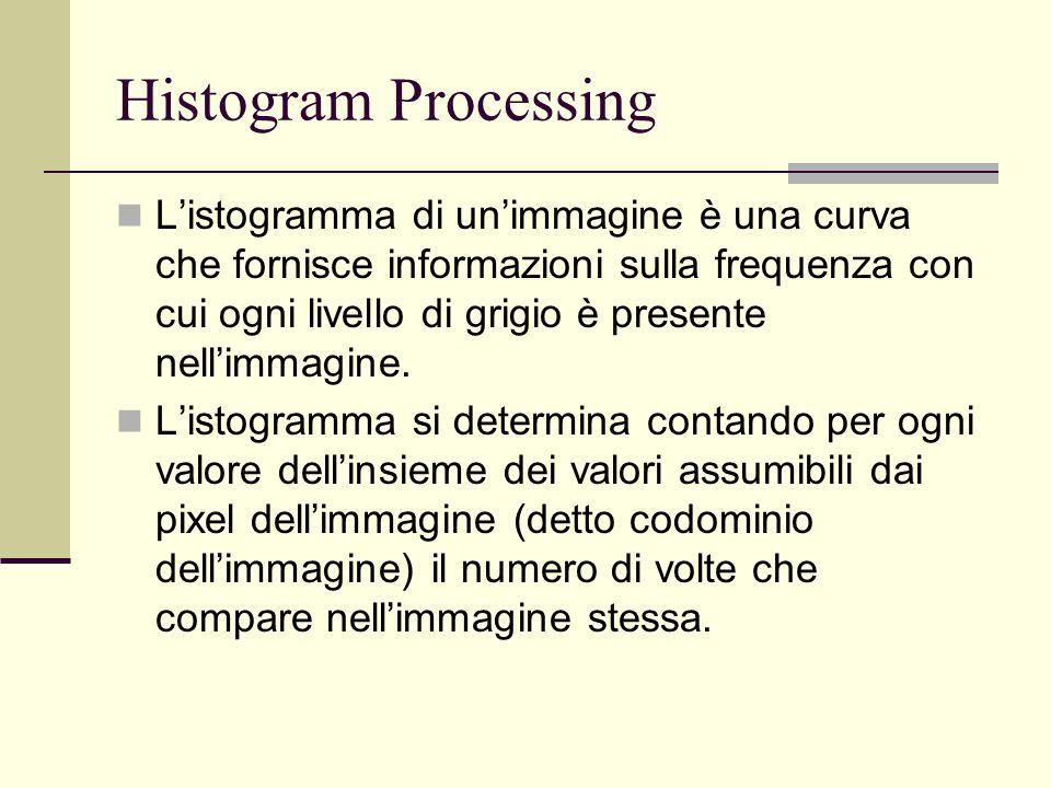 Histogram Processing L'istogramma di un'immagine è una curva che fornisce informazioni sulla frequenza con cui ogni livello di grigio è presente nell'